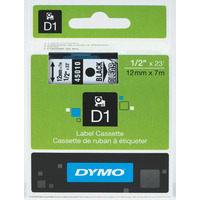 LABEL TAPE DYMO D1 12MMX7M BLACK ON CLEAR(EACH)