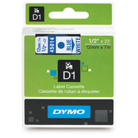 LABEL TAPE DYMO D1 12MMX7M BLUE ON WHITE(EACH) - LABEL TAPE DYMO D1 12MMX7M BLUE ON WHITE