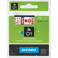 LABEL TAPE DYMO D1 12MMX7M RED ON WHITE(EACH)