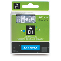 LABEL TAPE DYMO D1 12MMX7M WHITE ON CLEAR(EACH)