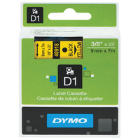 LABEL TAPE DYMO D1 9MMX7M BLACK ON YELLOW(EACH)