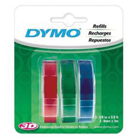 LABEL TAPE DYMO EMBOSSING 9MMX3M RED/BLUE/ GREEN PK3(PKT)
