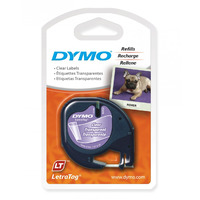 LABEL TAPE DYMO LETRA-TAG PLASTIC CLEAR(EACH)
