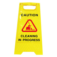 SAFETY SIGN CLEANLINK 32X31X65CM CLEANING IN PROGRESS YELLOW(EACH)