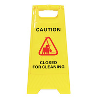 SAFETY SIGN CLEANLINK 32X31X65CM CLOSED FOR CLEANING YELLOW(EACH)