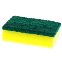 SPONGE CLEANLINK 10X7CM WITH SCOURER YELLOW/GREEN PK6(EACH)