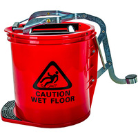 MOP BUCKET CLEANLINK 16L HEAVY DUTY METAL WRINGER RED(EACH)
