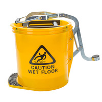 MOP BUCKET CLEANLINK 16L HEAVY DUTY METAL WRINGER YELLOW(EACH)