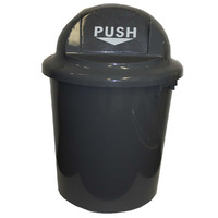 RUBBISH BIN CLEANLINK 60L CIRCULAR WITH BULLET LID 60L GREY(EACH)