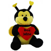 SOFT TOY ELKA 15CM BEE WITH HEART YELLOW/BLACK/RED(EACH)