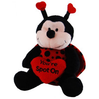 SOFT TOY ELKA 15CM LADY BIRD WITH HEART BLACK/RED(EACH)