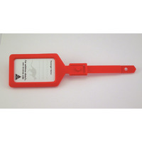LUGGAGE LABEL KEVRON PLASTIC RED PK25(EACH)