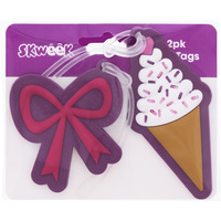 BAG TAGS SKWEEK RUBBER PURPLE PK2(EACH) - BAG TAGS SKWEEK RUBBER PURPLE PK2