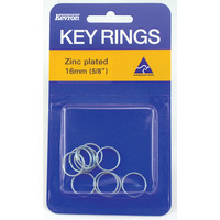 KEY RINGS KEVRON 16MM ZINC PLATED PK10(PKT) - KEY RINGS KEVRON 16MM ZINC PLATED PK10