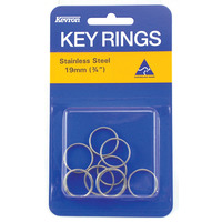 KEY RINGS KEVRON 19MM S/STEEL PK10(PKT) - KEY RINGS KEVRON 19MM S/STEEL PK10