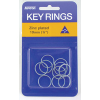 KEY RINGS KEVRON 19MM ZINC PLATED PK10(PKT) - KEY RINGS KEVRON 19MM ZINC PLATED PK10
