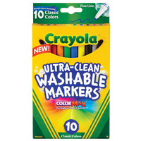MARKER CRAYOLA ULTRA CLEAN WASHABLE FINELINE CLASSIC COLOURS PK10(EACH)