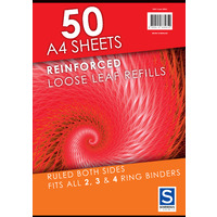 LOOSE LEAF REINFORCED REFILLS SOVEREIGN A4 RULED PK50(EACH)