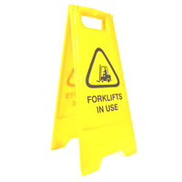 SAFETY SIGN CLEANLINK 32X31X65CM FORKLIFTS IN USE YELLOW(EACH)