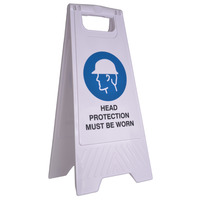 SAFETY SIGN CLEANLINK 32X31X65CM HEAD PROTECTION MUST BE WARN WHITE(EACH)
