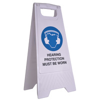 SAFETY SIGN CLEANLINK 32X31X65CM HEARING PROTECTION MUST BE WORN WHITE(EACH)