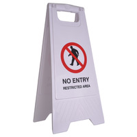 SAFETY SIGN CLEANLINK 32X31X65CM NO ENTRY RESTRICTED AREA WHITE(EACH)