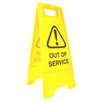 SAFETY SIGN CLEANLINK 32X31X65CM OUT OF SERVICE YELLOW(EACH)