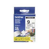 Brother TZ-221 Laminated Black printing on White Tape (9mm Width 8 Metres in Length)