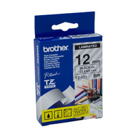 Brother TZ-131 Laminated Black Printing on Clear Tape (12mm Width 8 Metres in Length)