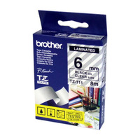 Brother TZ-111 Laminated Black Printing on Clear Tape (6mm Width 8 Metres in Length)