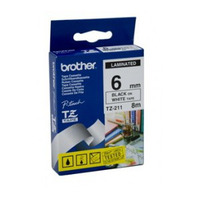 Brother TZ-211 Laminated Black Printing on White Tape (6mm Width 8 Metres in Length)