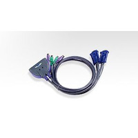 Petite 2 Port PS2 KVM Switch - 0.9m Cables Built In - Aten Petite 2 Port PS2 KVM Switch - 0.9m Cables Built In