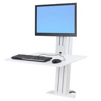 SR - Single Monitor Sit-Stand Desktop Workstation  Deep Surface  Furniture Retrofit  White