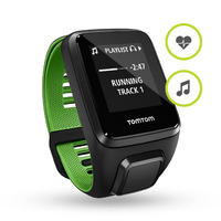 TomTom Runner 3 Cardio + Music Black/Green (L) - 144x168px  GPS  MP3/AAC  3GB  40m/130feet (5 ATM)