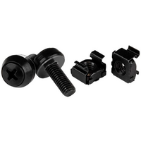 M6 x 12mm - Screws and Cage Nuts - 50 Pack  Black - StarTech.com M6 x 12mm Screws and Cage Nuts - 50 Pack - M6 Mounting Screws and Cage Nuts for Serve