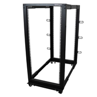 25U Adjustable Depth Open Frame 4 Post Server Rack w/ Casters / Levelers and Cable Management Hooks - StarTech.com 25U Adjustable Depth Open Frame 4 P