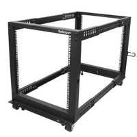 12U Adjustable Depth Open Frame 4 Post Server Rack w/ Casters / Levelers and Cable Management Hooks - StarTech.com 12U Adjustable Depth Open Frame 4 P