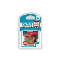 LABEL DYMO 12MMX3M D1 DURABLE WHITE ON RED