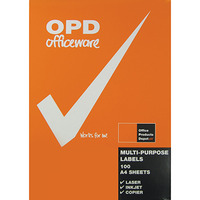LABEL OPD A4 2UP WHITE PK100