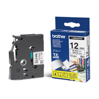 Brother 12mm Blk on White Tape - Laminated Tape