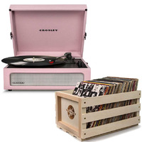 Crosley Voyager Portable Turntable - Amethyst + Free Record Storage Crate