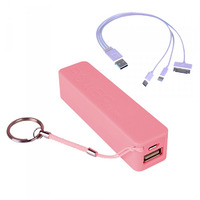 Laser 2200mAh Powerbank - Pink - With 3 in 1 Cable
