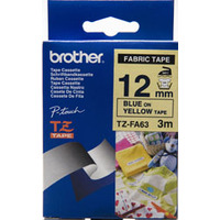 12MM BLUE ON YELLOW FABRIC TZ TAPE  SAME AS TZ-FA63 WITH NEW ECO FRIENDLY PACKAGE)